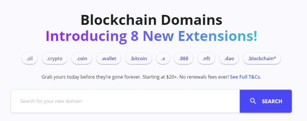 Blockchain domain new extensions