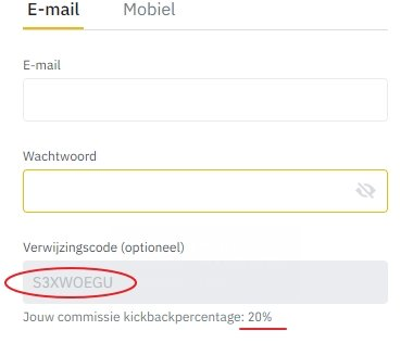 Binance referentie code 20% kickback