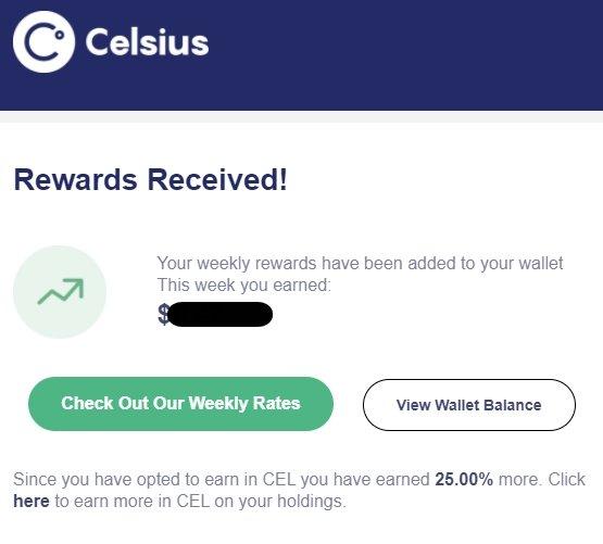 Celsius Network rewards