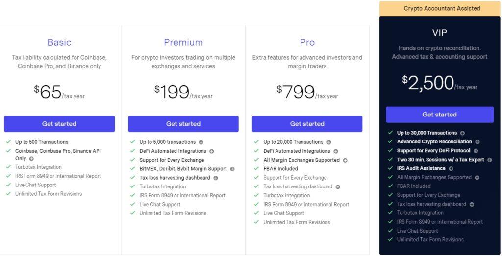 TokenTax Software prijsplan