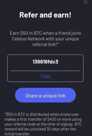 Celsius referral bonus